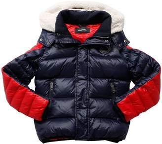 Diesel Hooded Color Block Nylon Down Jacket