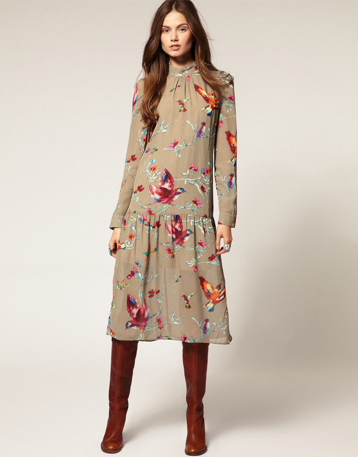 ASOS Midi Dress with Bird Print