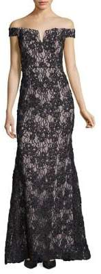 Xscape Evenings Off-Shoulder Notch-Neckline Flared Lace Gown