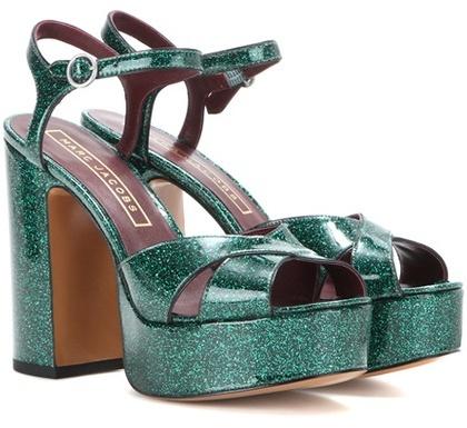 Marc JacobsMarc Jacobs Debbie Glitter Patent Leather Platform Sandals