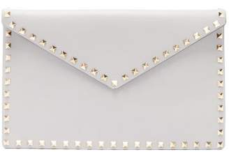 Valentino Rockstud Large Leather Pouch - Womens - Light Grey