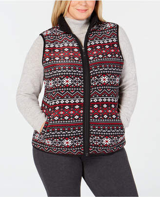 Karen Scott Plus Size Fair-Isle Stand-Collar Vest