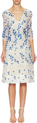 Monique Lhuillier Lace Floral Applique Flared Dress