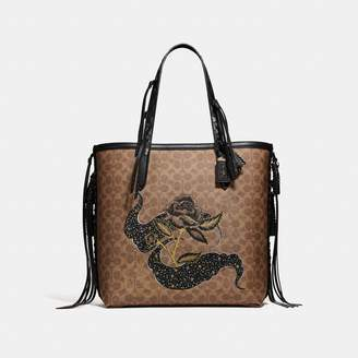 Coach Tote 34 In Signature Canvas With Tattoo