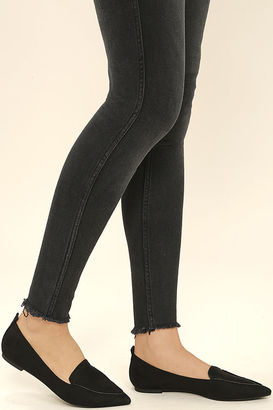 Emmy Black Suede Pointed Loafers $23 thestylecure.com