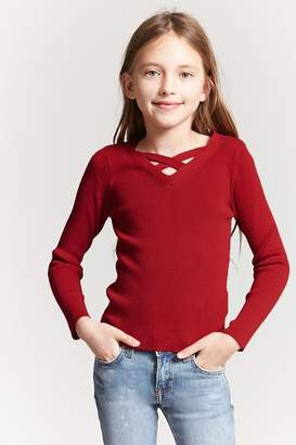 Forever 21 Girls V-Neck Knit Top (Kids)