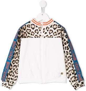 Roberto Cavalli Junior leopard print bomber jacket