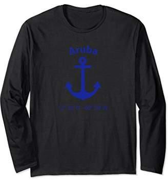 Nautical Aruba Coordinates Long Sleeve Shirt For Sailors