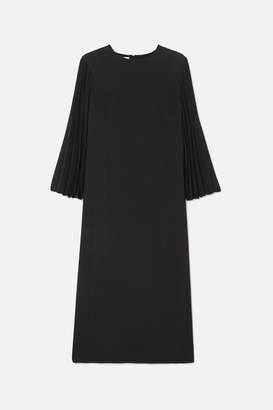 Valentino Pleated Cady Midi Dress - Black