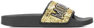 Moschino bejewelled logo glitter pool slides