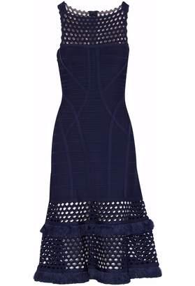 Herve Leger Fringed Laser-cut Bandage Dress