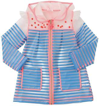 Billieblush Hooded Striped Pvc Rain Coat