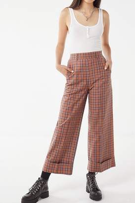 Urban Outfitters Plaid Deep Cuff Puddle Pant