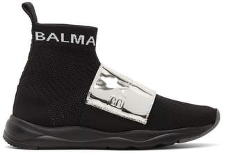 Balmain Black and Silver Runner Cameron Sneakers