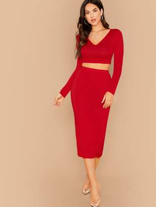 Shein Fitted Solid Top & Pencil Skirt Set