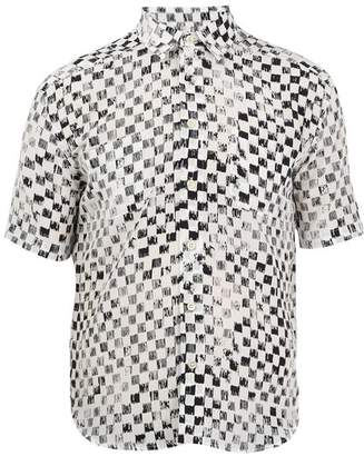 Saint Laurent Checked Short Sleeved Silk Shirt - Mens - White Multi