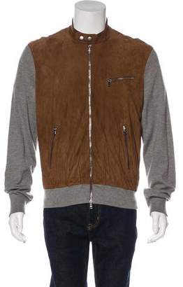 Ralph Lauren Purple Label Cashmere Suede-Trimmed Café Racer Jacket