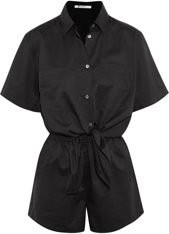 Alexander Wang T by Alexander Wang Tie-front cotton playsuit