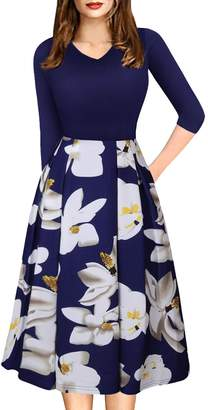 Church's FEOYA Women Vintage Dress with Pockets Patchwork Dress for Skirts Puffy Swing Casual Party Midi Dress 3/4 Sleeve Work Dress
