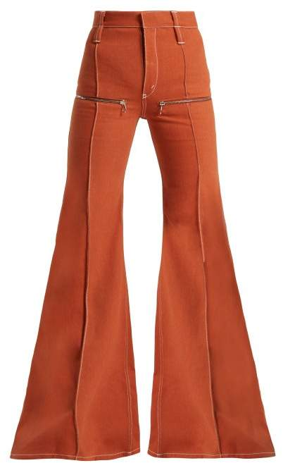 Zip Embellished Flared Jeans - Womens - Light Brown
