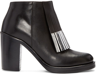 McQ Alexander Mcqueen Black Wick Fringe Ankle Boots $630 thestylecure.com
