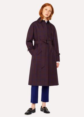 Paul Smith Women's Burgundy Check Cotton-Blend Mac