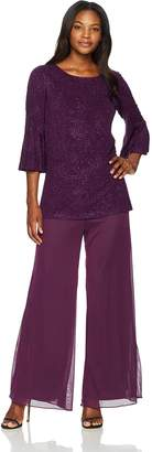 Alex Evenings Women's 2-Piece Pantsuit with Bell Sleeve Tunic Blouse (Petite and Regular Sizes)