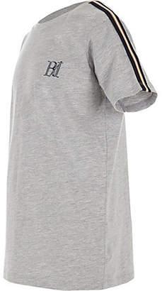 River Island Boys grey tape sleeve T-shirt