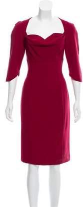 Black Halo Cowl Knee- Length Dress
