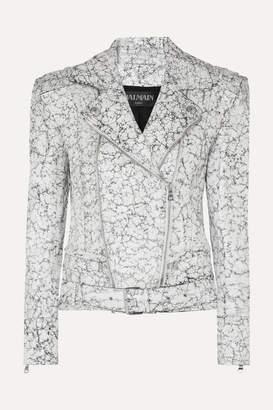 Balmain Oversized Painted Cracked-leather Biker Jacket - White