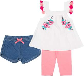 Little Lass Baby Girls 3-pc. Floral Embroidered Shorts Set