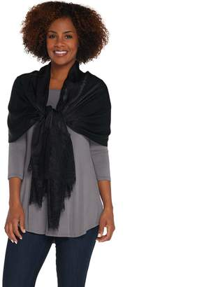 Isaac Mizrahi Live! Woven Scarf with Lace Trim