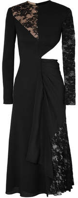 Givenchy Cutout Paneled Wool-crepe, Silk Crepe De Chine And Lace Midi Dress - Black