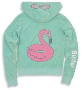 Butter Shoes Little Girl's& Girl's Mineral Wash Terry Flamingo Hoodie