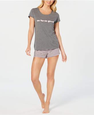 Jenni by Jennifer Moore 2-Pc. Cotton Graphic Top & Pajama Shorts Set