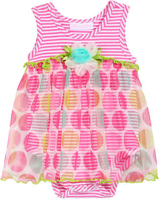 Bonnie Baby Sleeveless Striped Romper with Dot-Print Overlay, Baby Girls