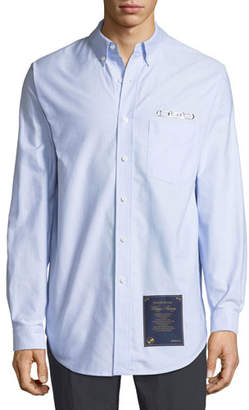 Alexander Wang Men's CEO & House Rules-Patch Striped Oxford Shirt