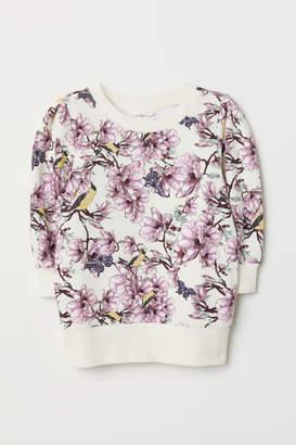 H&M Puff-sleeved Sweatshirt - Beige