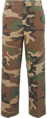 R 13 Slouch Cropped Camouflage-print Cotton-twill Wide-leg Pants - Green