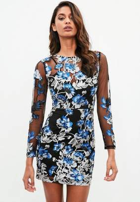 Missguided Black Floral Embroidered Mesh Mini Dress