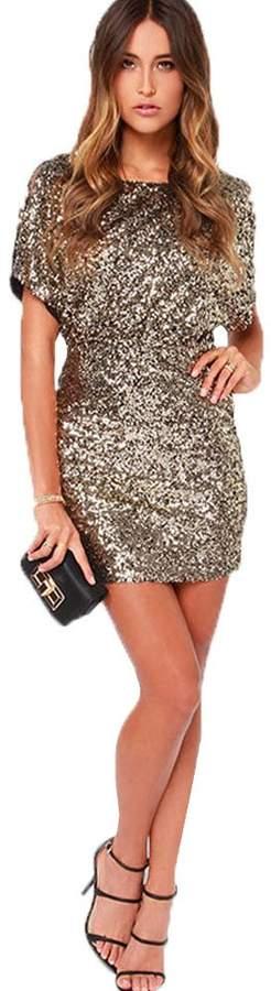 Eiffel Store Eiffel Women's Glitter Sequin Slit Cold Shoulder Dress Bodycon Skirt Night Clubwear