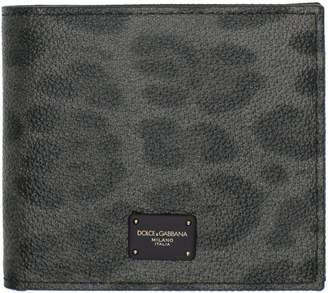 Dolce & Gabbana Grey and Black Leopard Logo Wallet