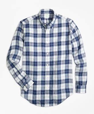 Brooks Brothers Milano Fit Grid Check Irish Linen Sport Shirt