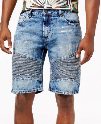 Reason Men's Ripped Denim Moto Shorts $68 thestylecure.com