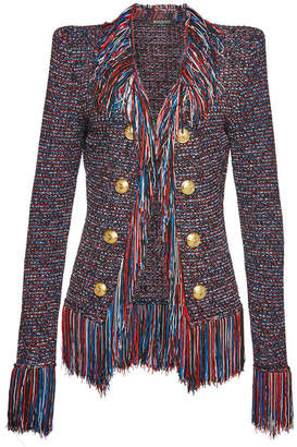 cc0c4430501 Balmain Fringed Knit Blazer with Embossed Buttons