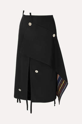 3.1 Phillip Lim Asymmetric Embellished Wool Skirt - Black