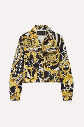 Versace Cropped Printed Denim Jacket - Yellow