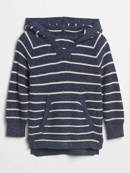 Waffle-Knit Hoodie Sweater
