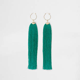 River Island Womens Blue tassel drop hoop earrings