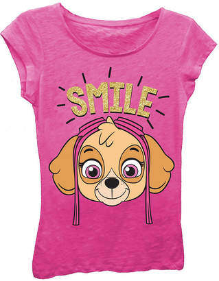 Asstd National Brand Paw Patrol Girls' Skye Smile Short Sleeve Graphic T-Shirt with Gold Glitter